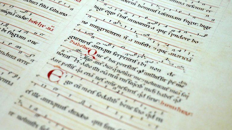 Ein Faksimile der Hildegard von Bingen: Die Neumen (ursprüngliche Notation) fehlen bei dem Wort Diabolus. Der Teufel kennt keine Musik.